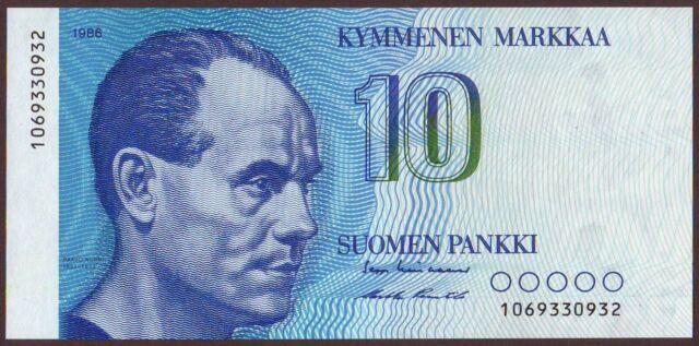 Finland  10 Markkaa  1986   UNC