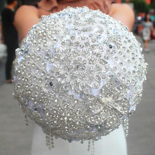 Luxury Crystals Satin Brooch Wedding Bridal Bouquet Bride//Bridesmaid Hand Flower