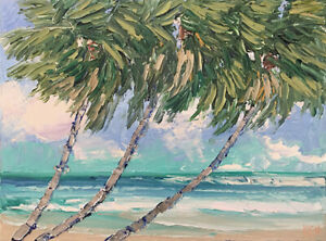 BEACH-PALMS-Original-Expression-Seascape-Surf-Waves-Painting-12x16-031119-KEN