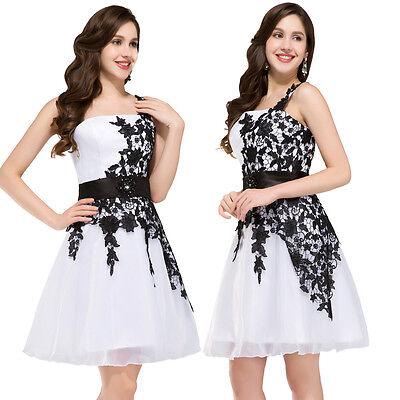 2016 Glam White&Black Formal Prom Dresses Graduation Party Short  Evening Dress