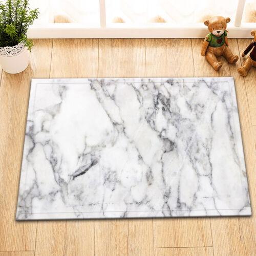 Grey White Marble Texture Room Floor Carpet Non-skid Door Bath Mat Decor Rugs