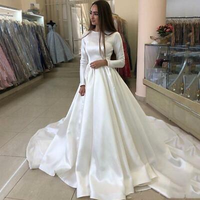 bescheidenes völlig satin a linie langarm hochzeitskleider muslim brautkleider  ebay