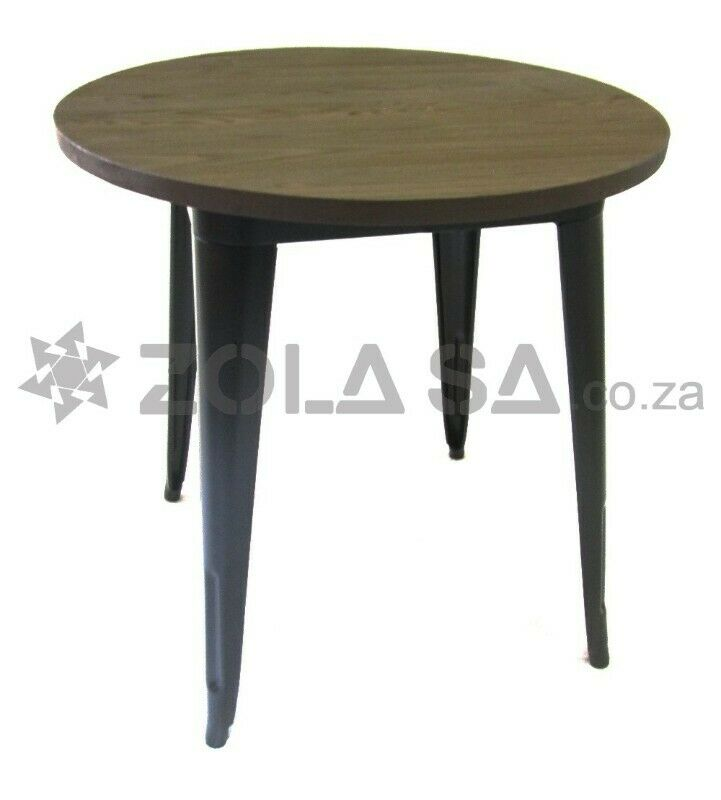 Tolix  Round Cafe Table With A Wooden Top