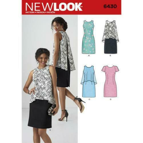 New Look Sewing Pattern 6430 Misses Stylish Dress Two Lengths Size 10-22 Uncut