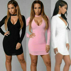 Fashion-Women-s-039-Long-Sleeve-V-Neck-Bodycon-Party-Mini-Short-Dress-Sexy-Dress
