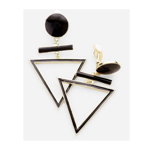 Lange Ohrclips Ohrringe Clips Clip Creolen Kreolen Gold Emaille Schwarz 7,5 cm L