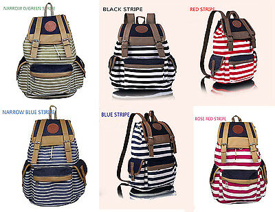 Canvas Backpack School Bag Vintage Stripe College Laptop Bags Rucksack for Teens