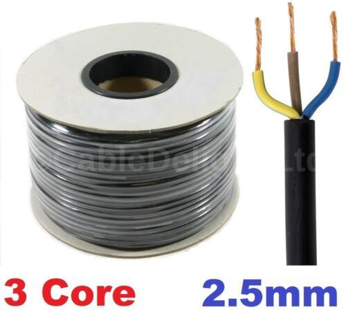 3 Core 2.5mm 25 Amp PVC Flexible Cable 1m 100m Round Flex Electrical Wire BLACK