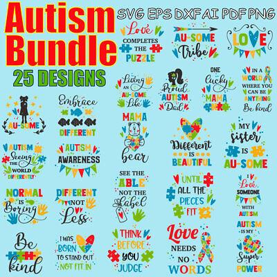 Autism Svg Bundle Autism Puzzle Autism Awareness Autism Clipart Svg Png Ai Ebay