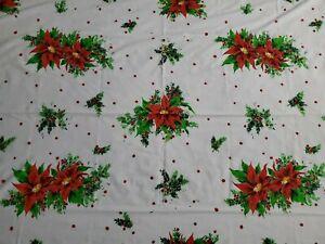 Vtg Fabric Holiday Christmas Tablecloth Rectangle 74 X 54 White Poinsettia Ebay