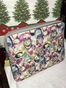 Multi-Color-coach-Fabric-And-Leather-ipad-case-Approx-10-X-7-1-4-I-Pad