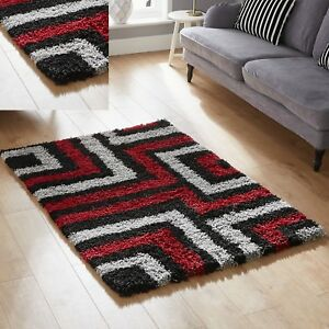 New Red Black 5cm High Pile Tides Shaggy Rug Sale Large Medium Small