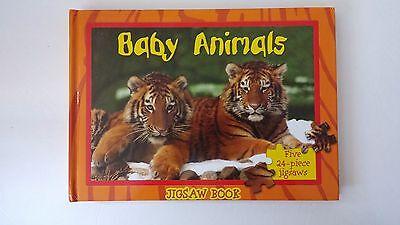 Baby Animals 5 Jigsaw puzzles Homeschool Preschool Hardcover Board Book EUC