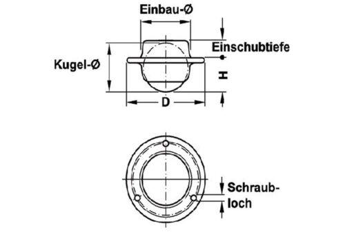 Kugelrollen Metall einbaubar Dm 25mm 2er bis 10er Set