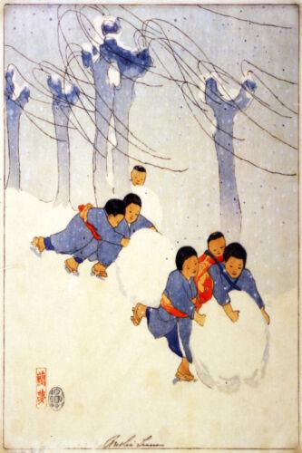 Vintage Asian POSTER.Stylish Graphics.Snow Children.House Room art Decor.647