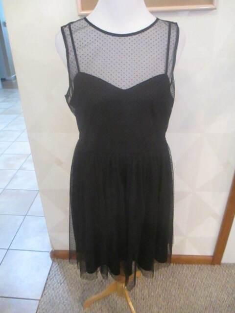 Lc Lauren Conrad Tulle Fit Flare Black Dress 10 Sweetheart Neckline