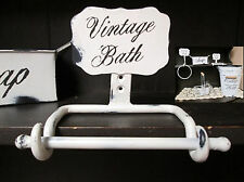 Wall Mounted Toilet Paper Holder Distressed White Iron Shabby Chic Cottage Decor