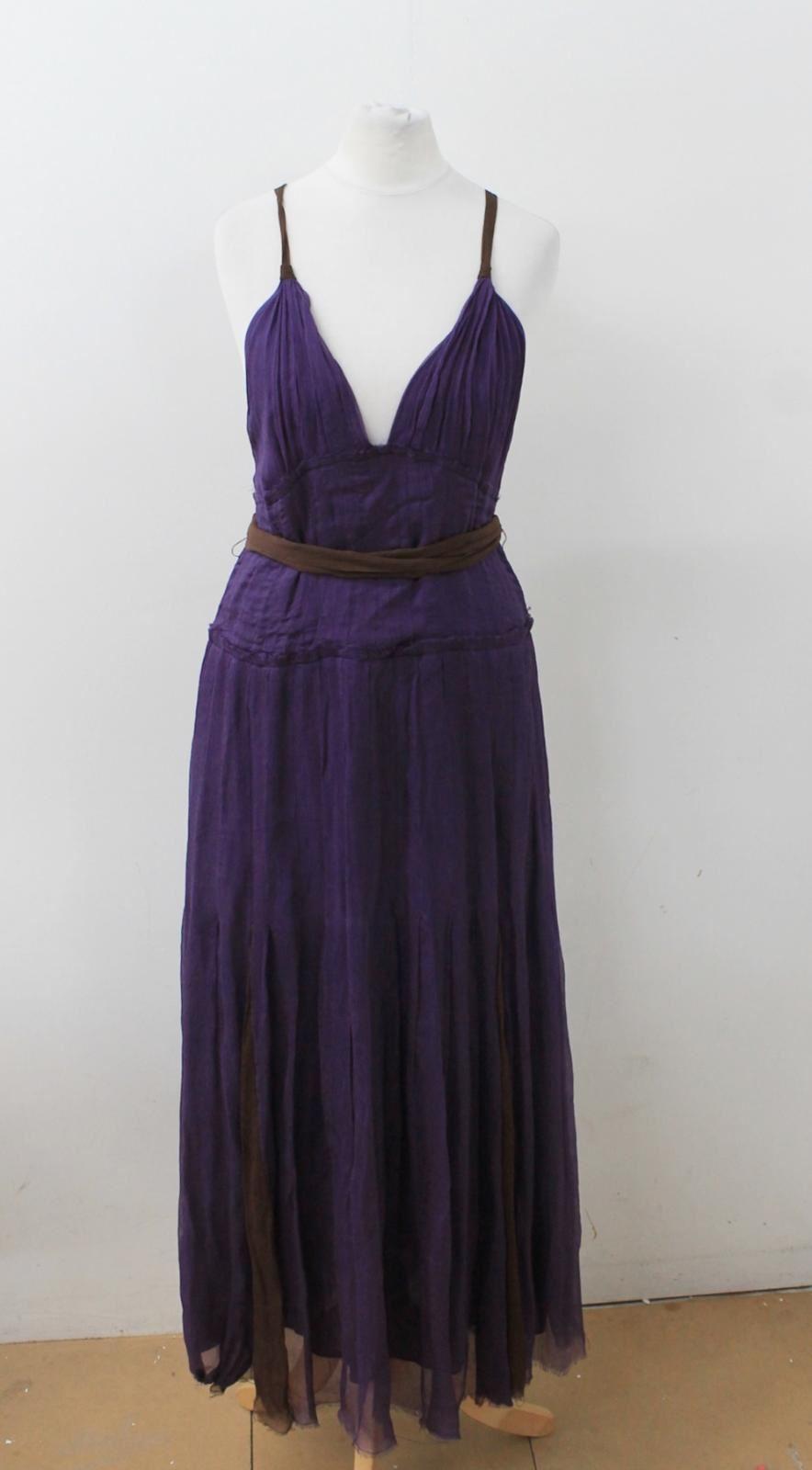 DEREK LAM Ladies Dark lila braun V-Neck Strappy Silk Maxi Dress Größe UK10