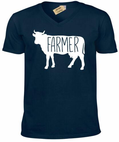Farmer Cow T-Shirt Country Animals Mens V-Neck T Shirt