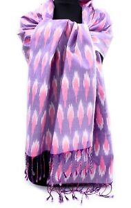 IKAT-Seiden-Schal-aus-100-Seide-40x205-cm-Rosa-flieder