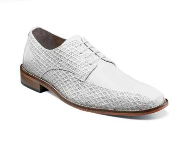 Stacy Adams Men's Gianluca Bike Toe Oxford White Leather Dress shoes 25174-100