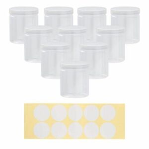10-Plastic-Storage-Jars-w-Screw-on-Lids-10-Labels-Refillable-Container-8-OZ