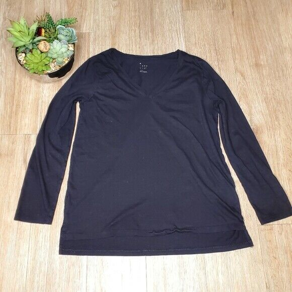 Motivated A New Day Women S Black Top Tee Shirt V Neck Tunic Classic Preppy Neutral Work High Quality Goods