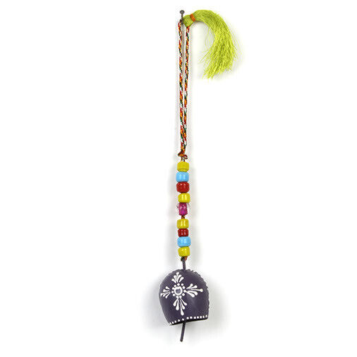 Beautiful Indian Ironwork Henna Grey Bulb Bell Chime and Colourful Glass Beads