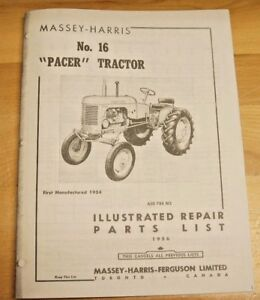 Massey Harris Pacer No 16 Tractor Parts Catalog Manual MH Continental Y91