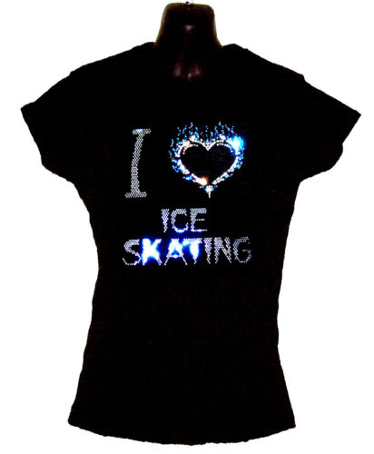I LOVE ICE SKATING LADIES FITTED T SHIRT WITH CRYSTAL DESIGN any size 8 to 18