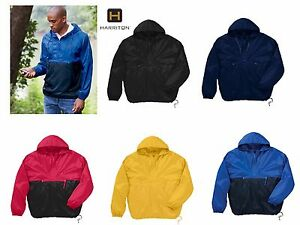 Harriton Adult Nylon Packable Pullover Hooded Jacket water ...