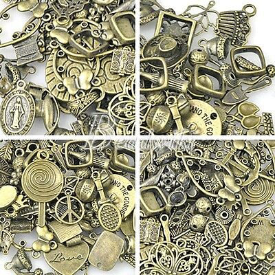 50g  Lot Vintage Brass Antique Bronze Findings Bead Connector Charm Ect SC0001