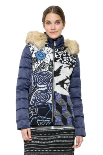 18 Woven Desigual Bean 36 Rrp Jacket Coat Puffa Uk 46 8 Padded Blue £159 TCqw8
