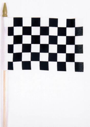 4x6 Black /& White Checker Checkered Stick Flag Checkered Flag Staff FAST US SHIP