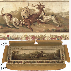 HUGE-Antique-French-Aubusson-Panel-Sofa-Cover-76-034-x-35-034-with-Stag-and-Hounds