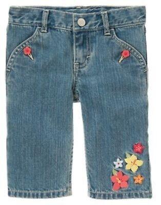 NWT Gymboree ALOHA SUNSHINE Denim Embroidered Flowers Skirt