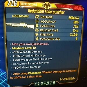 (Xbox) Borderlands 3 Level 65/Mayhem 10 Face-puncher X14 (250%PHASECAST) | eBay