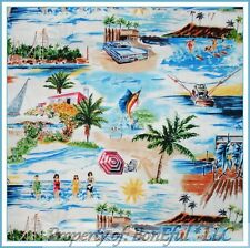 BonEful Fabric FQ Cotton Beach Fish Shark Surf Boy Girl Pin Up Scenic Sail*Boat