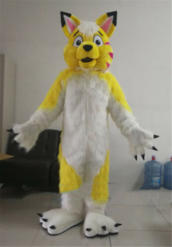 2019 Cosplay Yellow Husky Mascot Costume Dog Wolf Fox Cartoon Animal Dress Gift