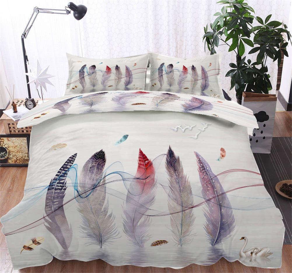 Gradient Feather 3D Printing Duvet Quilt Doona Covers Pillow Case Bedding Sets