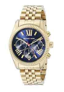 af5106de1625 Image is loading New-Michael-Kors-Lexington-Gold-Navy-Blue-Chronograph-