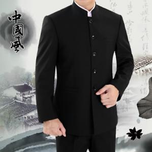 Mens Retro Traditional Coat Mandarin Banded Collar Single Breast Suit Jacket NEW