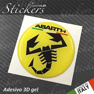 4 Adesivo Stickers Logo  ABARTH Fiat RED resinato 3D 45 mm auto