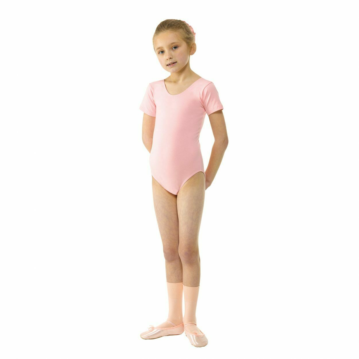 Tappers and Pointers Dance Short Sleeved Ballet Leotard Cotton Lycra Pale Pink