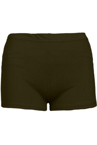 Womens Thin Ribbed Hot Pants Stretchy Casual Sports Ladies Cycling Mini Shorts