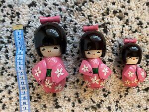 Set Of 3 Japanese Girls Kokeshi Wooden Pink Kimono Dolls