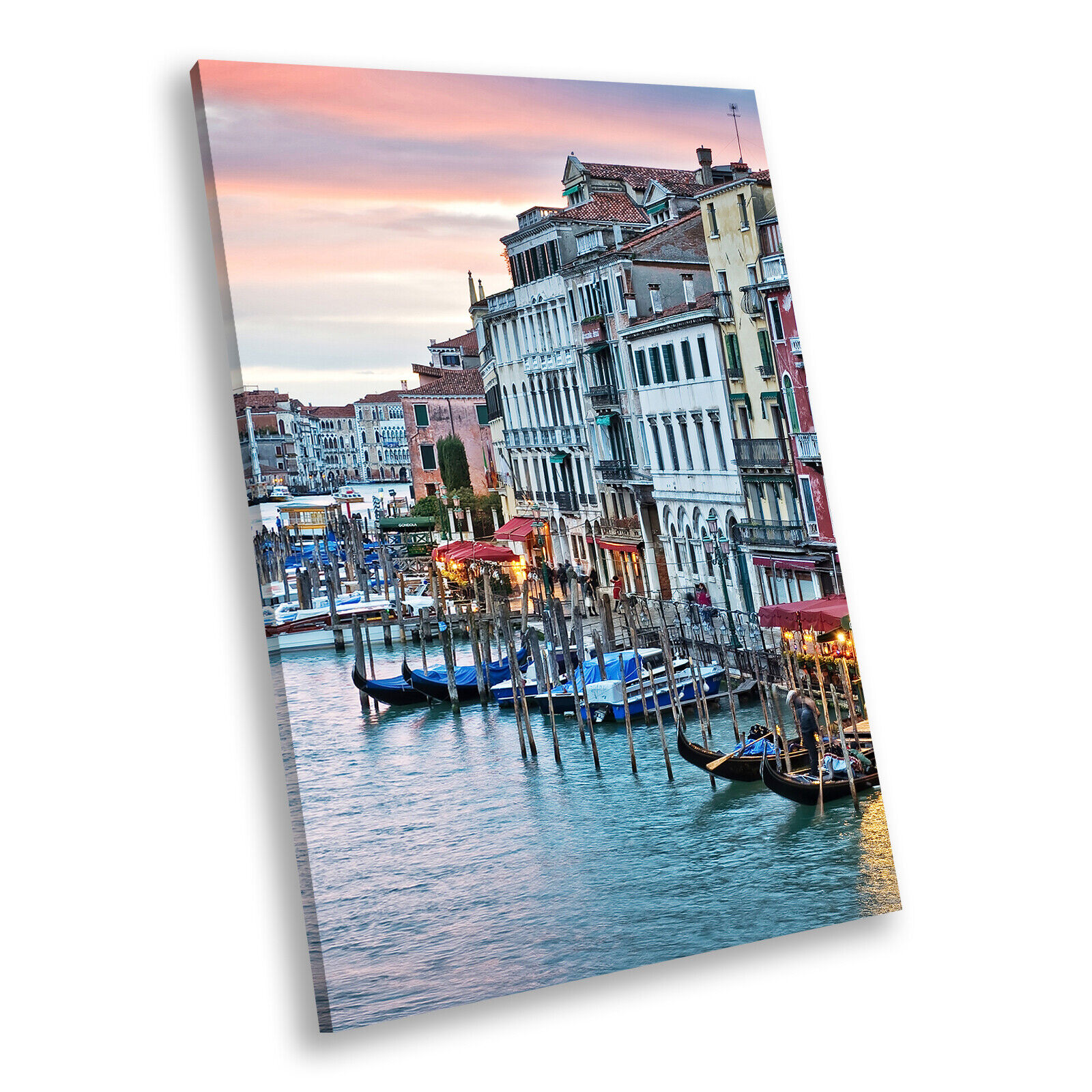 Venice Sunrise  Retro Portrait Scenic Canvas Framed Kunst Large Bild