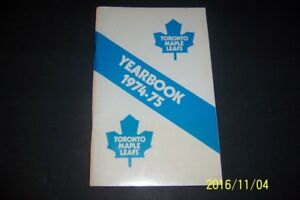 1974 75 TORONTO MAPLE LEAFS Yearbook Guide DARRYL SITTLER Dave KEON Valiquette