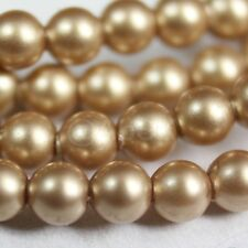 50 pcs Swarovski Element 5810 6mm Round Ball Crystal Pearl Beads - Vintage Gold