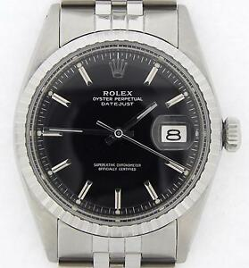 Rolex-Datejust-Mens-Stainless-Steel-Engine-Turned-Jubilee-Black-Dial-Watch-1603